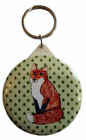 Foxy Pocket Mirror Keyring - Kate Garey