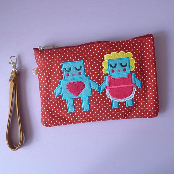 Robot Love Cosmetic Pouch / Clutch - Kate Garey