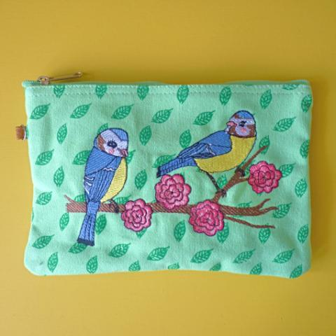 Blue Tits Cosmetic Pouch / Clutch - Kate Garey