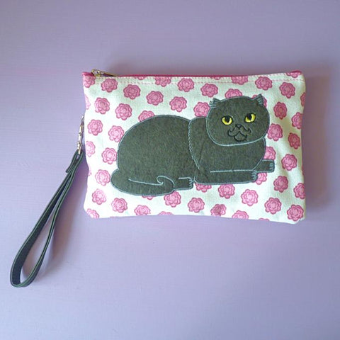 Rosy Cat Cosmetic Pouch / Clutch - Kate Garey