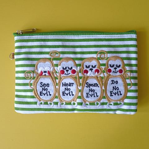 Wise Monkeys Cosmetic Pouch / Clutch - Kate Garey