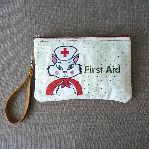 Nurse Kitty Cosmetic Pouch / Clutch - Kate Garey