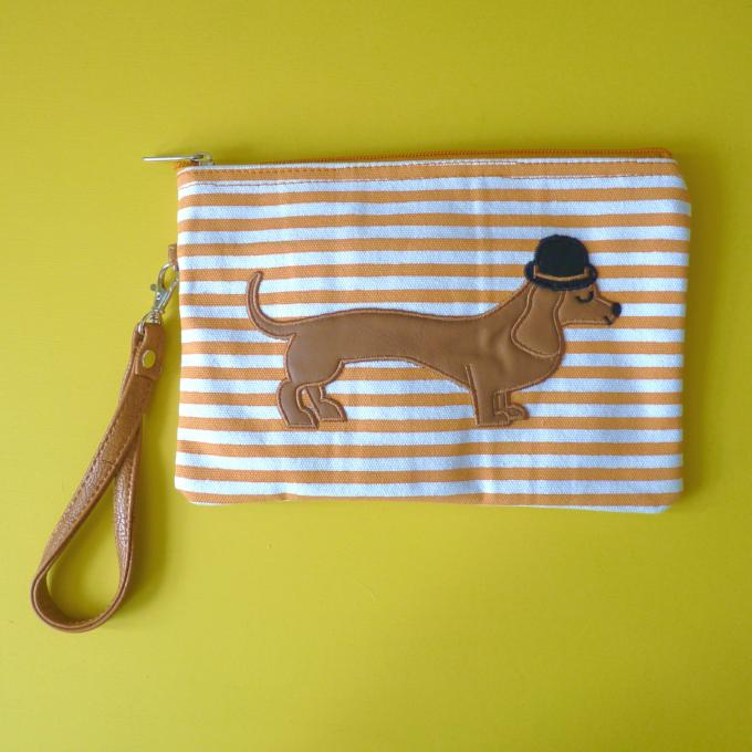 ... Mr Sausage Dog Cosmetic Pouch   Clutch - Kate Garey ... e5d86c6e239d6
