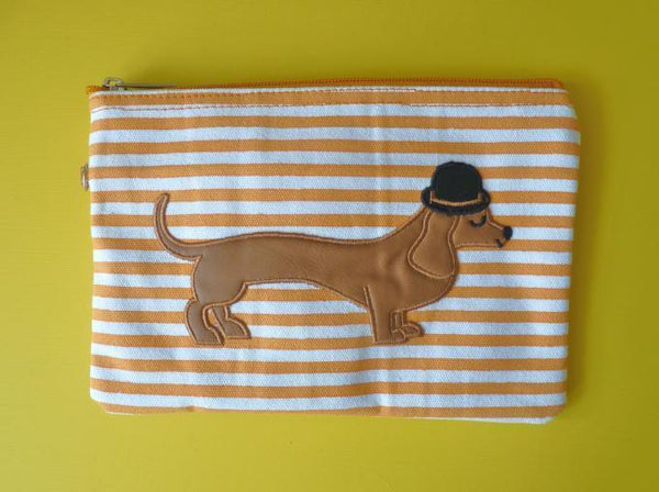 Mr Sausage Dog Cosmetic Pouch / Clutch - Kate Garey