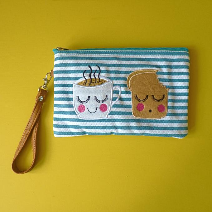 Tea & Toast Cosmetic Pouch / Clutch - Kate Garey