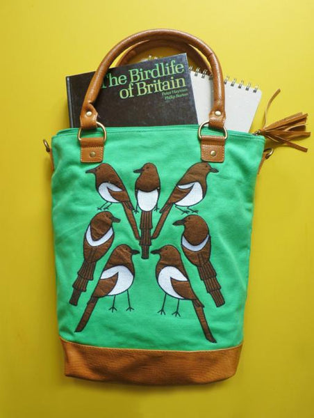 Seven Magpies Green Canvas Tote - Kate Garey