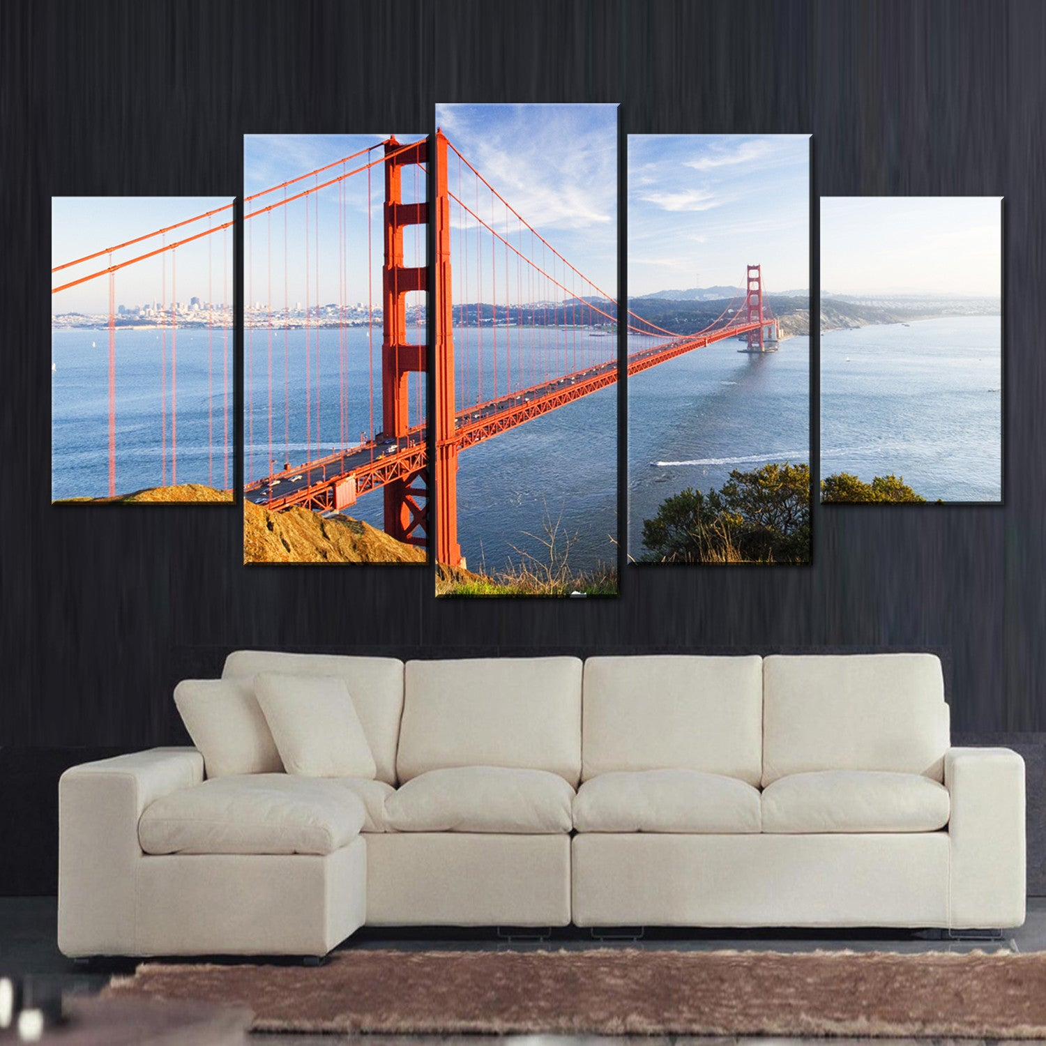 ... New York Golden Bridge For Living room 5 Pieces Canvas Wall Art - HD  Quality ...