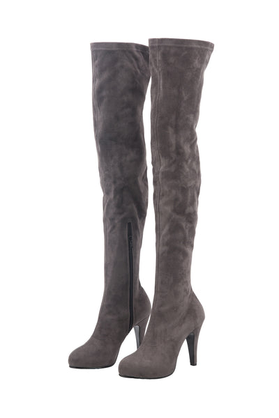SUEDE KNEE HIGH BOOTS IN LAVENDER GREY