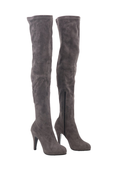 Suede Lavender Grey Knee High Boots