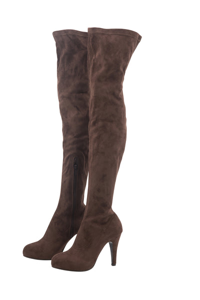 SUEDE KNEE HIGH BOOTS IN DUSTY BROWN