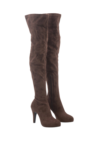 Suede Dusty Brown Knee High Boots