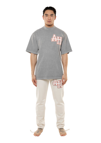 AH COLLEGE TSHIRT - WASHED GREY