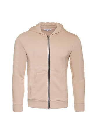 ZIP-UP HOODIE IN BLUSH BEIGE