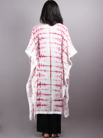 Pink White Hand Dyed in Natural Colors Kaftan With White Border - K1150F17