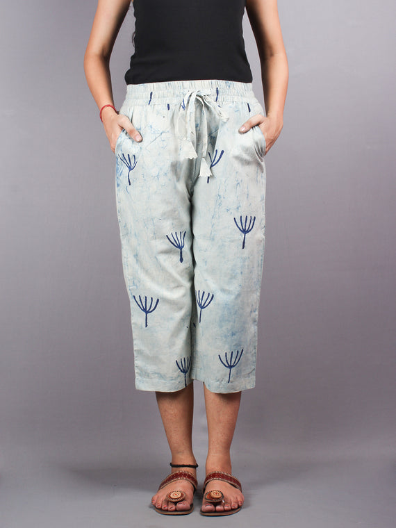 Indigo Hand Block Printed Elasticated Waist Capri - C0267011