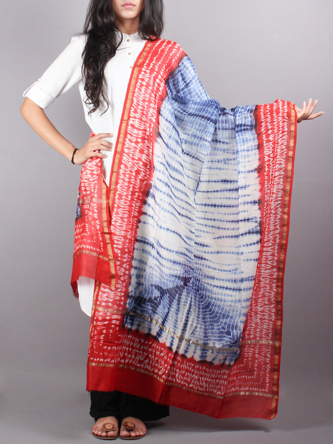 Indigo Red Chanderi Shibori Dyed in Natural Colors Dupatta with Bandani Touch- D0417049