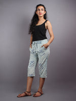 Indigo Hand Block Printed Elasticated Waist Capri - C0267005