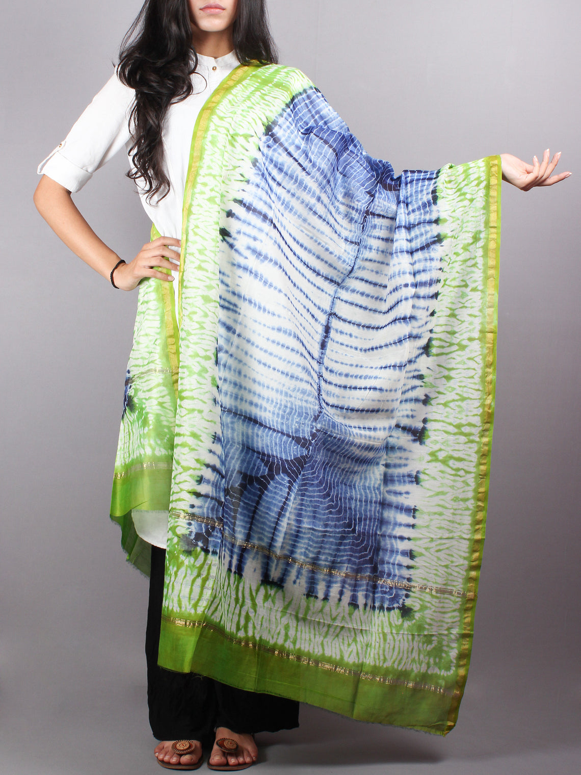 Indigo Mint Green Chanderi Shibori Dyed in Natural Colors Dupatta with Bandani Touch - D0417047