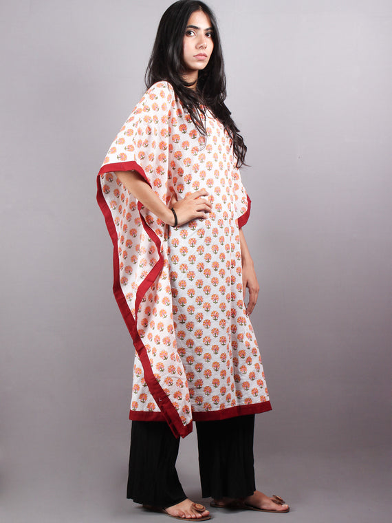 Multi Color Bagru Hand Block Printed in Natural Colors Kaftan With Red Border - K1150F14