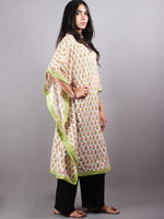 Multi Color Bagru Hand Block Printed in Naturak Colors Kaftan With Mint Green Border - K1134F15