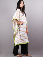 Multi Color Bagru Hand Block Printed Kaftan With Mint Green Border - K1150F16