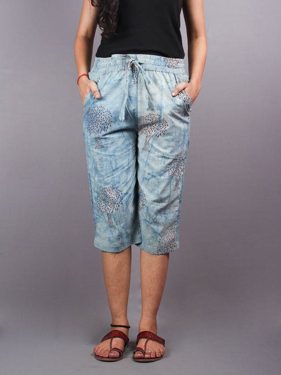Indigo Hand Block Printed Elasticated Waist Capri - C0267009