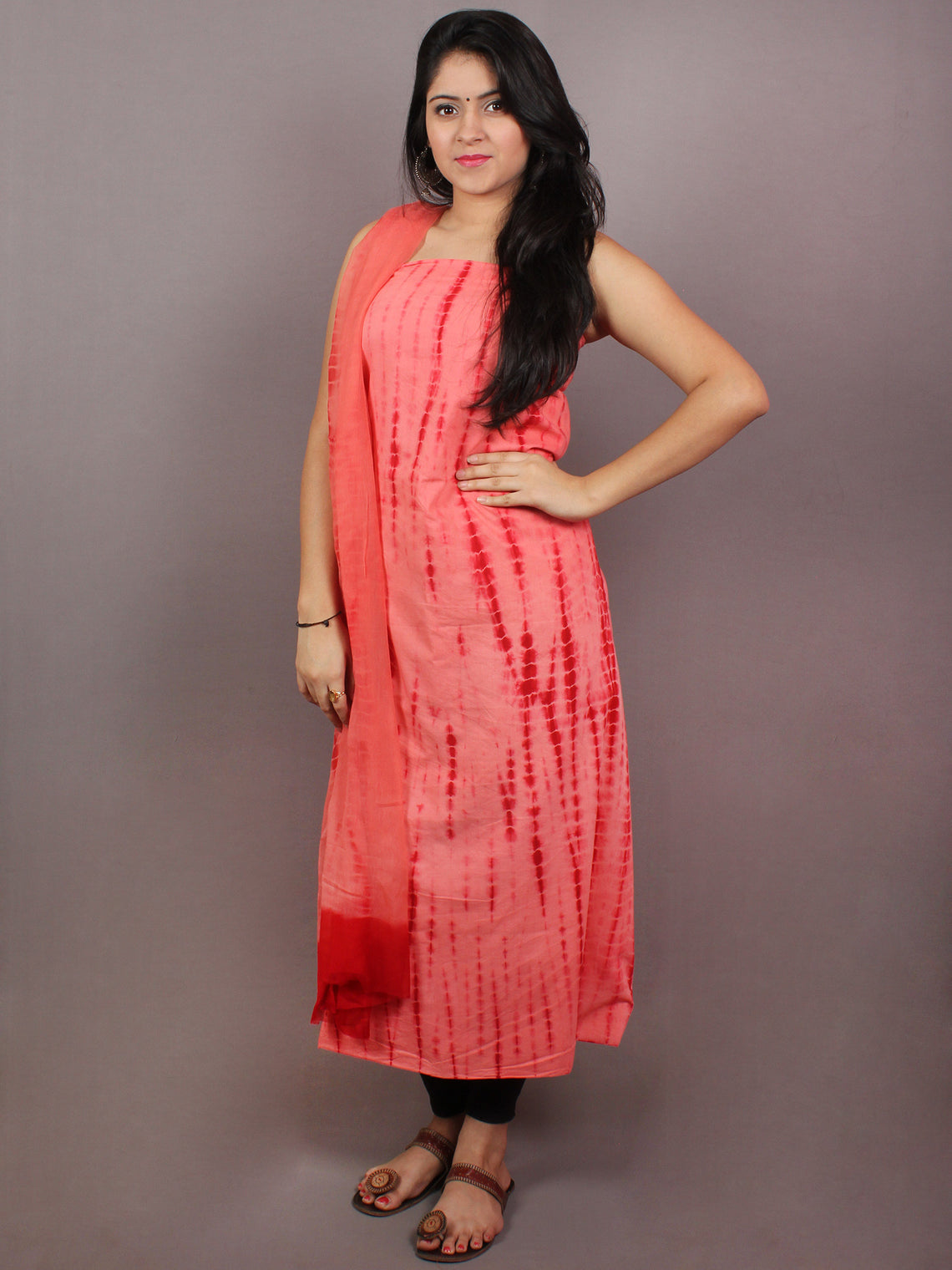Red Maroon Hand Shibori Cotton Suit-Salwar Fabric With Chiffon Dupatta - S1628094