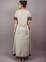 Beige Brown Hand Block Printed Long Cotton Dress With Front Slit - D0423803