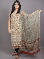 White Red Brown Hand Block Printed Cotton Suit-Salwar Fabric With Chiffon Dupatta - S1628050