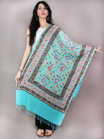 Sky Blue Jaldar Aari Embroidery Pure Wool Stole from Kashmir - S6317082