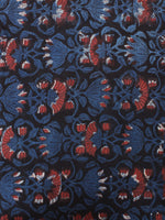 Black Brown Red Hand Block Printed Cotton Cambric Fabric Per Meter - F0916401