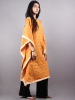 Yellow Hand Block Printed Kaftan With Beige Border - K1163F10