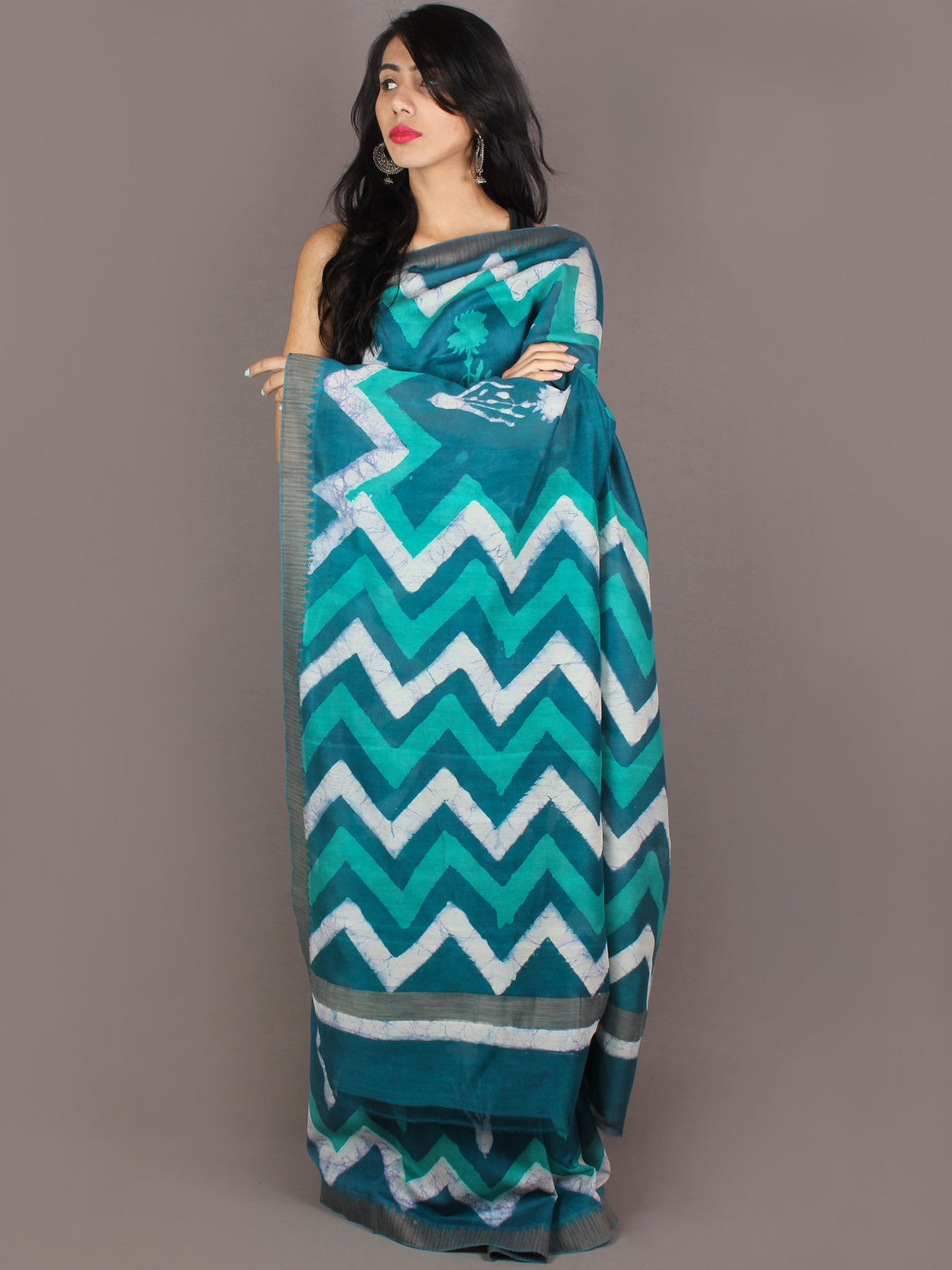 Teal Blue White Hand Block Printed in Natural Colors Chanderi Saree With Geecha Border - S031701001