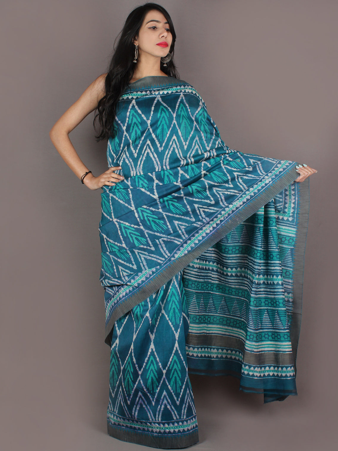 Teal Blue White Hand Block Printed in Natural Colors Chanderi Saree With Geecha Border - S031701002