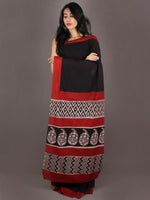 Black Red Beige Hand Block Painted & Printed Cotton Mul Saree - S031701004