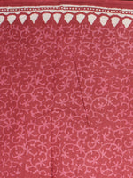 Vermilion Red White Pink Hand Block Printed in Natural Colors Cotton Mul Saree - S031701008