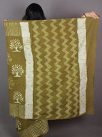 Asparagus Green Hand Block Printed in Natural Colors Cotton Mul Saree - S031701011