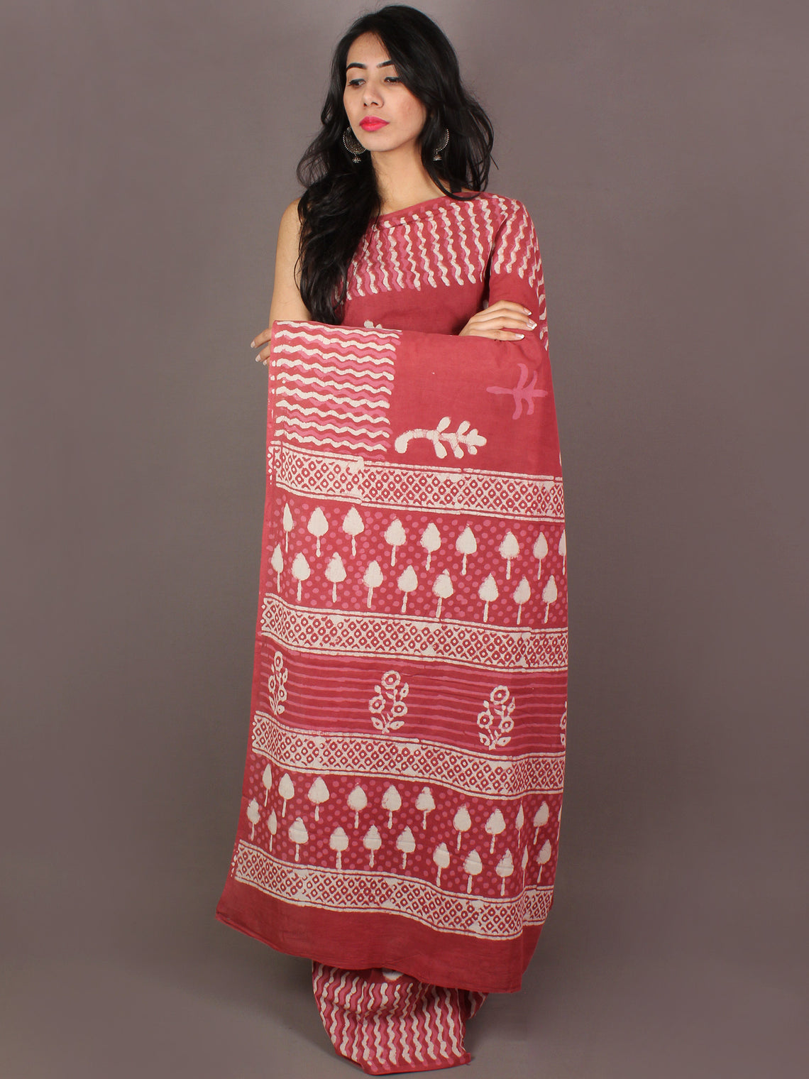 Vermilion Red White Hand Block Printed in Natural Colors Cotton Mul Saree - S031701012