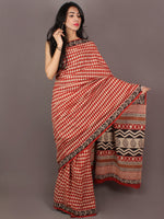 Red Ivory Black Hand Block Printed in Natural Colors Cotton Mul Saree - S031701013
