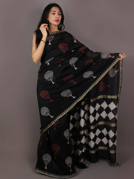Black Red White Hand Block Printed in Natural Colors Chanderi Saree With Geecha Border - S031701014