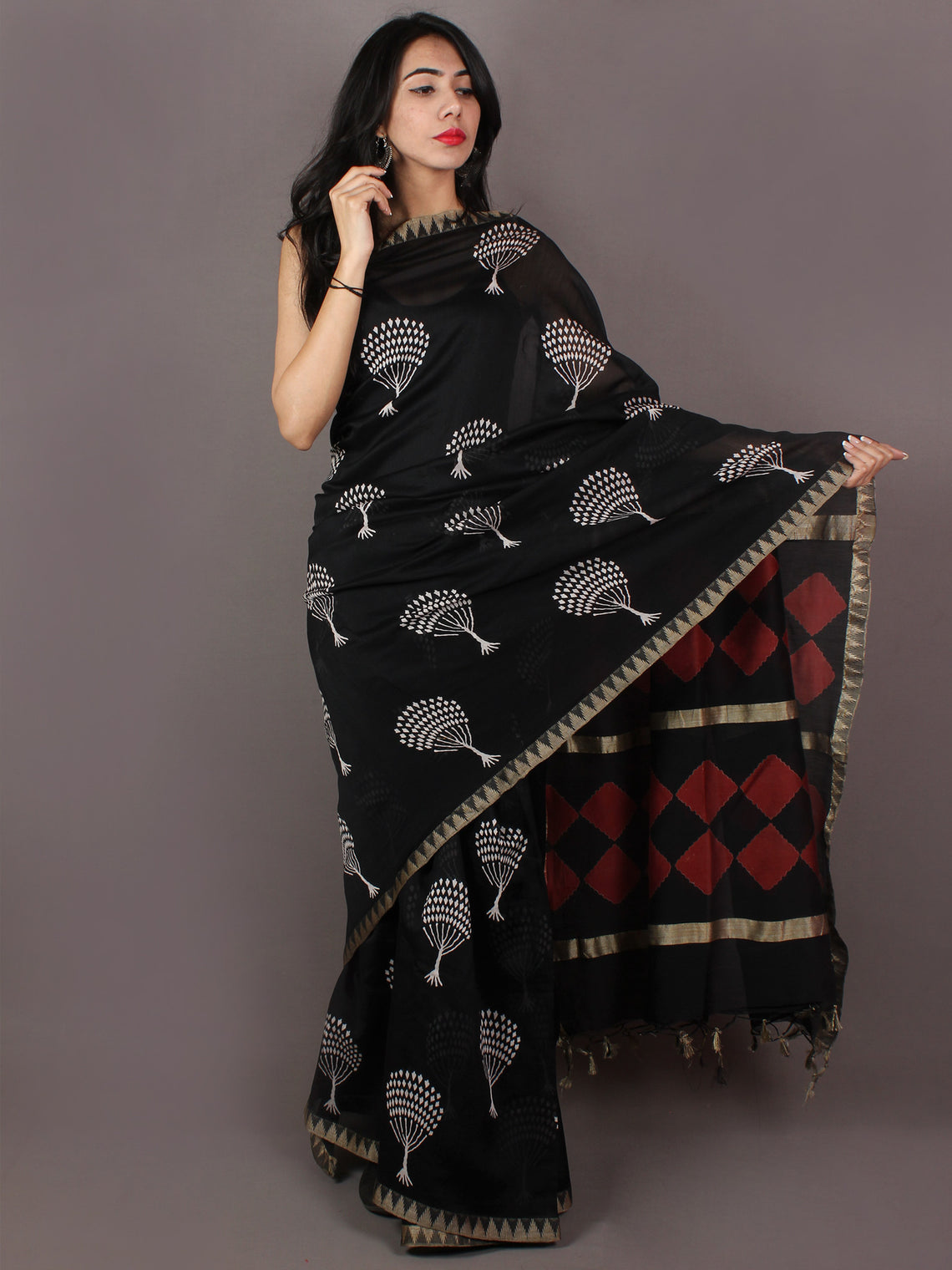 Black Red White Hand Block Printed in Natural Colors Chanderi Saree With Geecha Border - S031701016