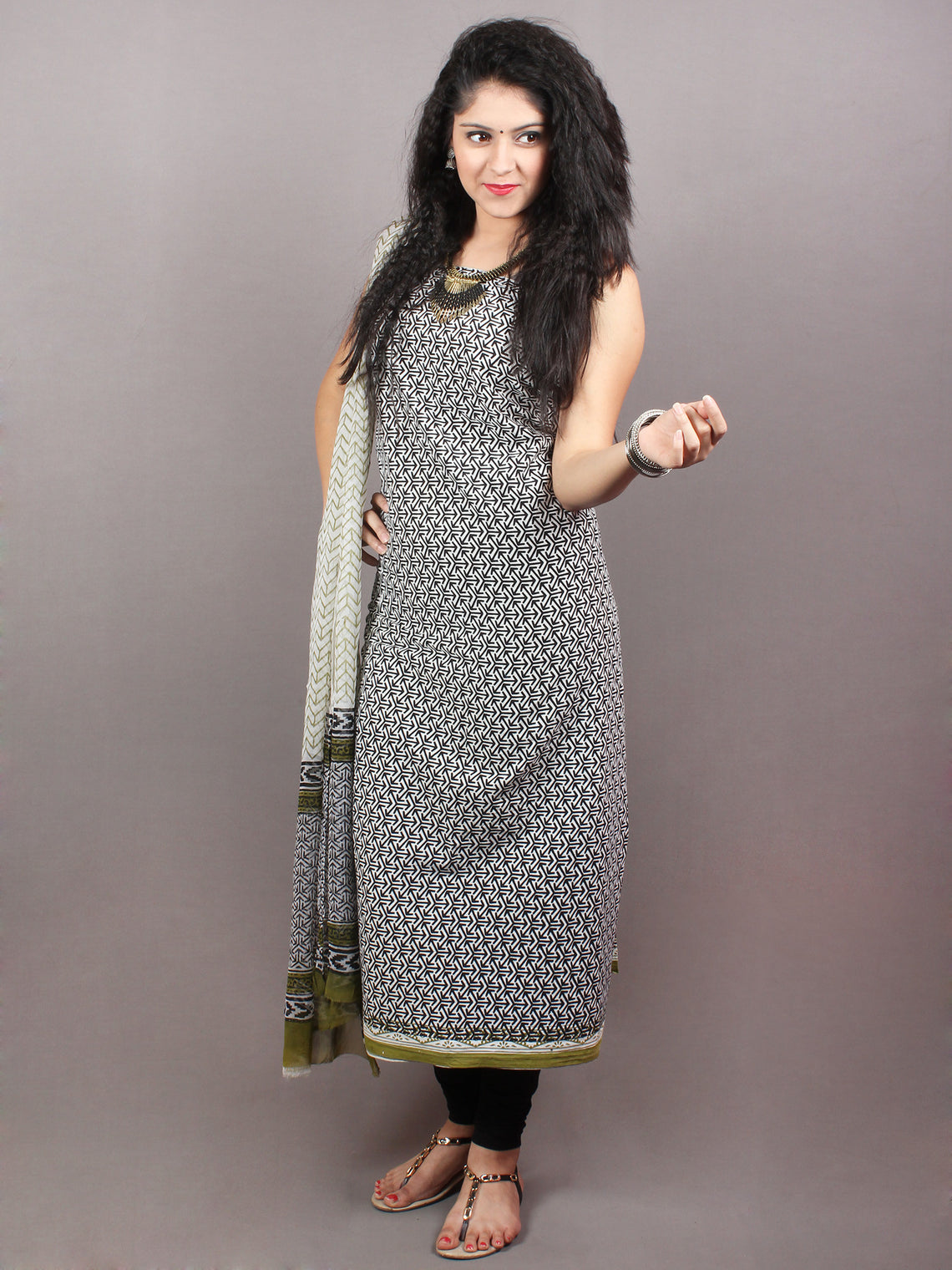 Black White Olive Green Hand Block Printed Cotton Suit-Salwar Fabric With Chiffon Dupatta - S1628105