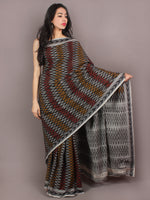 Black Grey Red Yellow Ikat Handwoven Pochampally Cotton Saree - S031701052