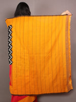 Black Ivory Red Yellow Ikat Handwoven Pochampally Cotton Saree - S031701059