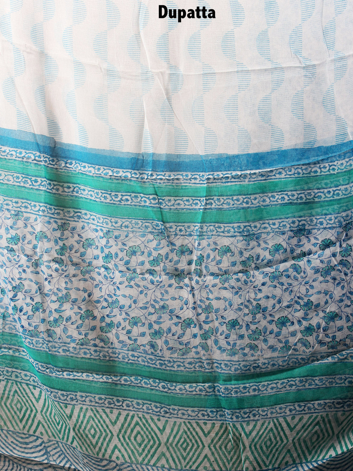 White Sky Blue Hand Block Printed Cotton Suit-Salwar Fabric With Chiffon Dupatta - S1628106