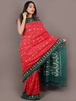 Red Green Grey Yellow Ikat Handwoven Pochampally Cotton Saree - S031701060