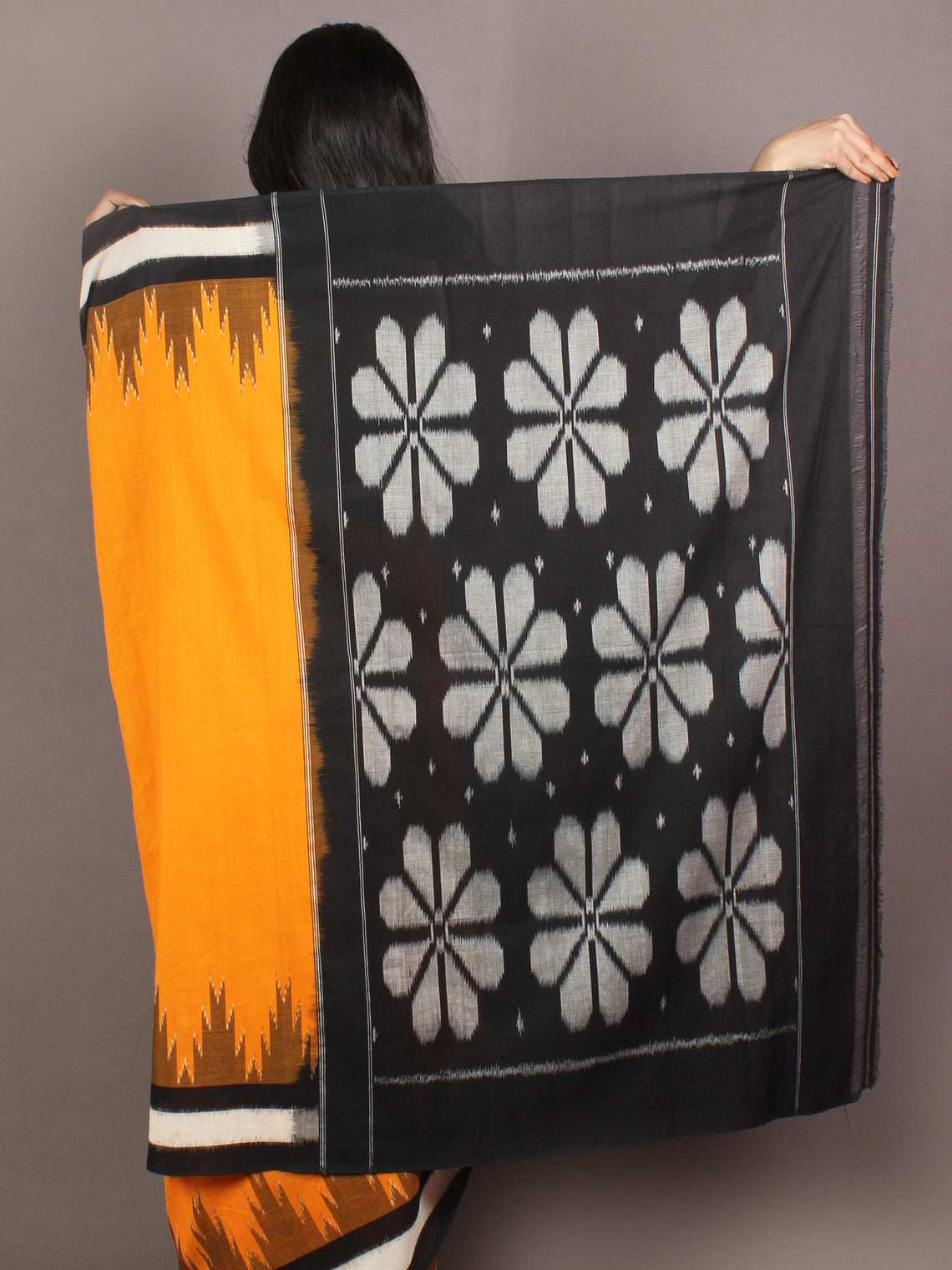 Yellow Black Ivory Grey Ikat Handwoven Pochampally Cotton Saree - S031701063