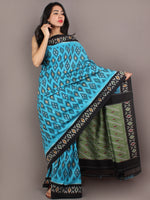 Azure Black Green Ikat Handwoven Pochampally Cotton Saree - S031701064