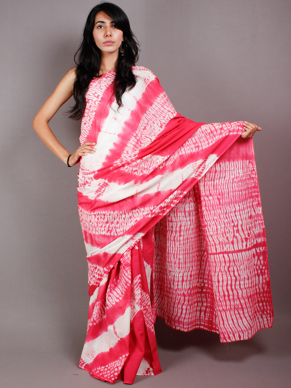 Pink White Shibori Hand Dyed Cotton Mul Saree  - S03170455