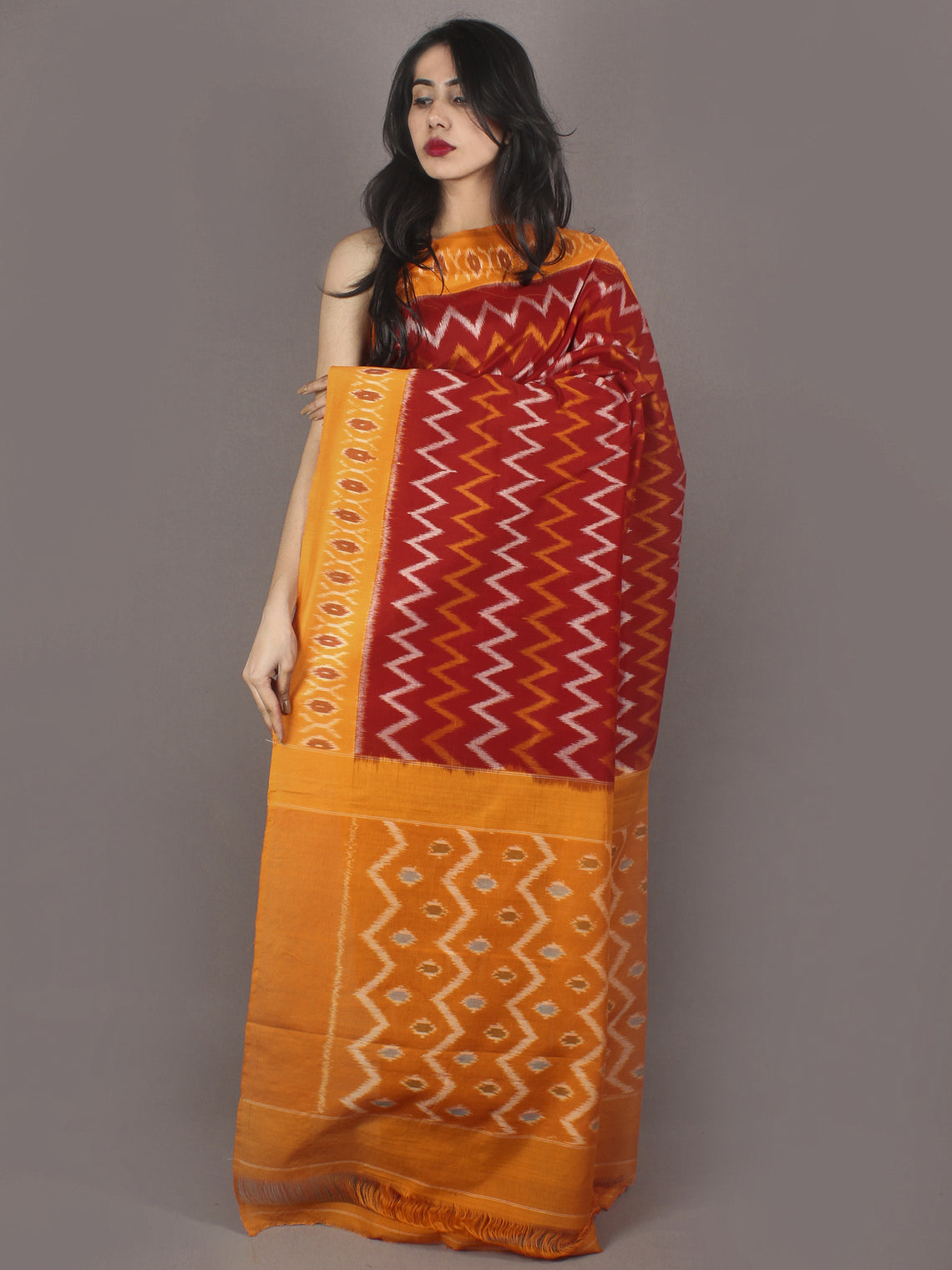 Red Yellow Ivory Ikat Handwoven Pochampally Cotton Saree - S031701070